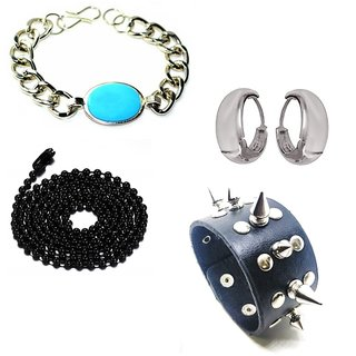 e0fd9c4ed4686 Salman Khan Bracelet & Kundal bali Earrings With Black Ball Chain & Poky  Black Cuff Bracelet For Men/Boys/Guys
