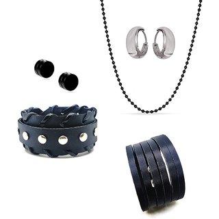 1 Mens Black Cuff Bracelet with 1 Pair Magnet Ear Stud & 1 Pair Salman Bali & 1 Long Black Ball Chain