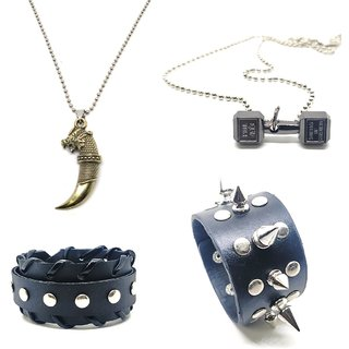 2 Black Leatherite Smart Cuff Bracelet With 1 Khanjar & 1 Dumbbell Pendant With Chain