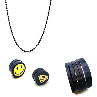 Black Combo of 1 Black Ball Chain With 1 Black Cuff Bracelet & 1 Pair Magnet Smile Ear Studs