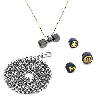 24 Inches Stainless Steel Ball Chain With 3 Punk Magnetic Ear Studs & 1 Dumbbell Pendant with Chain
