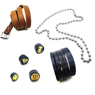 2 Mens Leatherite Cuff Bracelets With 4 magnetic Ear Studs Funky & 1 Silver Ball Chain