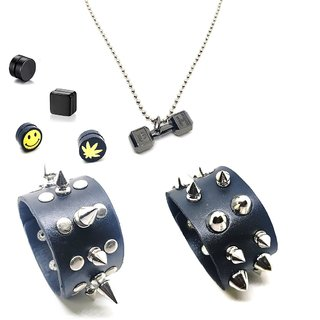 Dumbbell Pendant With Chain & 4 Ear Studs Magnetic & 2 Punk Black Cuff Bracelet