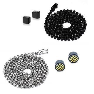 2 Funky Black & Silver Ball Chains With 2 Pair of Punk Magnetic Ear Stud