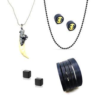Classic Mens Combo of 1 Pendant Khanjar 1 Balck Chain 1 Black Cuff Bracelet & 2 Pair of Ear Studs Magnetic