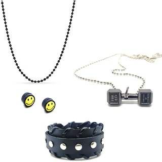 Black Ball Chain With 1 Pair of Magnet Ear Stud 1 Bracelet Cuff Black & 1 Pendant With Chain