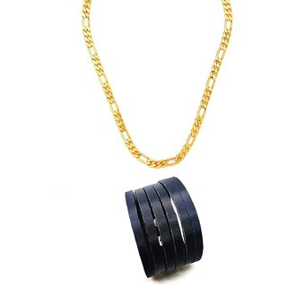 Gold Plated Sachin 24 inches Chain With Black Mens Cutting Cuff Adjustable Bracelet For Men/Boys
