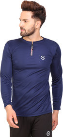 PAUSE Sport Blue Solid Sports Dry-Fit Round Neck Muscle Fit Full Sleeve T-Shirt