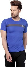 PAUSE Sport Blue Solid Sports Dry-Fit Round Neck Muscle Fit Short Sleeve T-Shirt