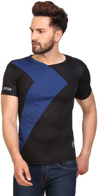 PAUSE Sport Black Solid Sports Dry-Fit Round Neck Muscle Fit Short Sleeve T-Shirt