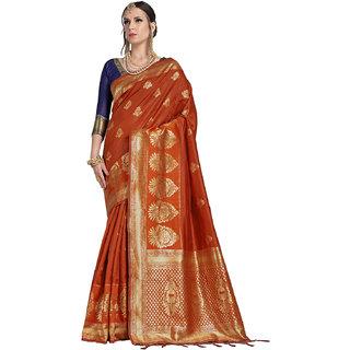 78b93cd4e63b7 Buy Takshaya Rust Banarasi Art Silk Saree for Women with Blouse Piece  Online - Get 60% Off
