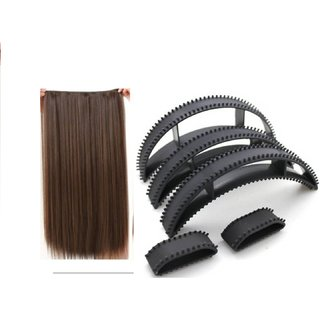 GULZAR Straight Synthetic 24 inch Hair Extension (Natural Brown) With Hair Volume Bumpits