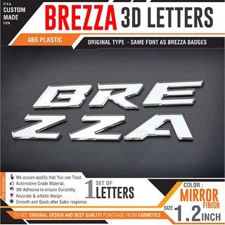 CarMetics Brezza Org Type Mirror Finish 3D Letters for VitaraBrezza Car 3D Sticker 3D Emblem Logo brezza car Accessori