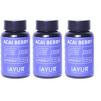 iAYUR Acai Berry Extract 500 Mg (Pack of 3) Tested & Certified 100% Potent, Natural, Pure & Safe - Natural Fat Burner Supports Weight Loss, Anti-Aging & Skin Glow