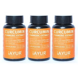 iAYUR Curcumin Pack of 3 (95 Total Curcuminoids) with Piperine - 400 Mg  100 Potent, Natural, Pure, Safe  Authentic - Superfood for Digestion, Skin, Diabetes, Joint Pain  Heart Care
