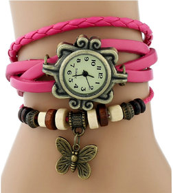 Vintage Beige Round Dial Multicolor Leather Strap Analog Watch For Women