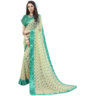 Aagaman Cream Georgette Everyday Wear Printed Saree