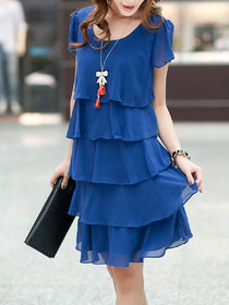 Fabrange Royal Blue Ruffle Dress For Women