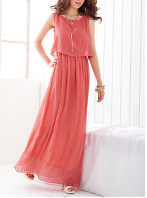 Fabrange Peach Layered Maxi Dress For Women