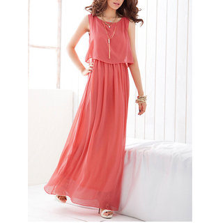 Fabrange Peach Layered Maxi Dress For Women