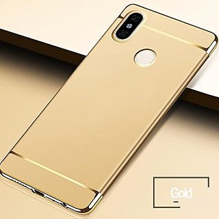 BRAND FUSON Redmi Note 5 Pro Hard PC Shell Electroplate Matte 3 in 1 Anti Scratch Proof 360 Degree Back Cover (Gold)