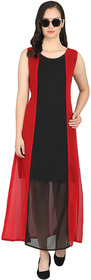 Code Yellow Women's Red Black Panelled Long Dress (RWD2027Red)
