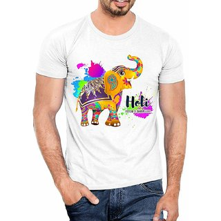 DOUBLE F ROUND NECK HALF SLEEVE WHITE COLOR HOLI FESTIVAL OF SHARING LOVE PRINTED T-SHIRTS