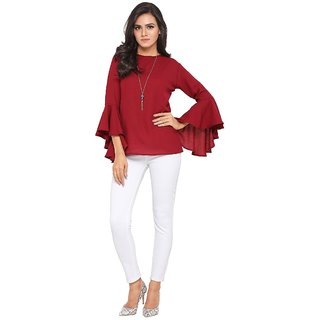 24a1fb36a48ea Buy Fabrange Maroon Bell Sleeves Top for Women Online - Get 77% Off