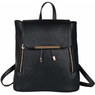 VARSHA FASHION ACCESSORIES Women Girls Ladies Backpack Fashion Shoulder Bag Rucksack PU Leather Travel bag 172 BLACK