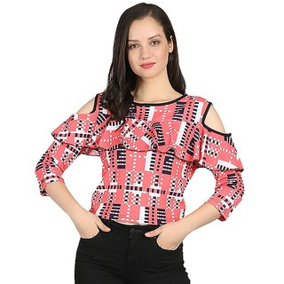 bef6fb69a5eb3 Buy Raabta Peach and Multocolor Check Ruffled Cold Shoulder Top RTW11023  Online - Get 82% Off