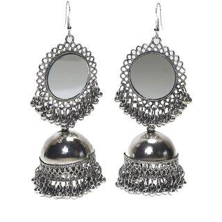 Beautiful silver oxidised  jhumki earing with mirror detailing