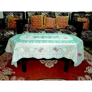 Center Table Cover  4 Seater Floral Design ( Size  60 inch ( 152.4 cm ) x40 inch ( 101.6 cm ) Green Color By AH