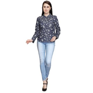 Anshi Fashion Purple Printed Shirt Collar Formal Shirts  For Women