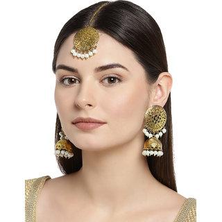 Zaveri Pearls Traditional Jhumki Earring  Maangtikka Set For Women-ZPFK7633