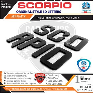 CarMetics Scorpio Org Type 3D Letters for Mahindra Scorpio Glossy Black Scorpio Accessories 3d Emblem Decals Logo