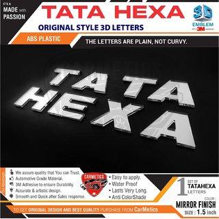 CarMetics TATA Hexa 3D Letters Mirror Finish for tata Hexa Accessories car Sticker car 3D Letters 3d emblem Decals Logo