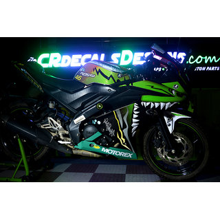 YAMAHA R15 V3 Full Body Wrap Custom Decals/Stickers VR46 SHARK EDITION KIT-NEON GREEN