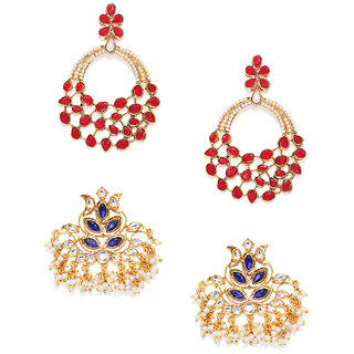 Zaveri Pearls Combo Of 2 Kundan  Pearl Dangle Earring For Women-ZPFK7656