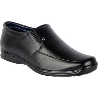 ShoeAdda Mens Black Slip on Moccasin Formal Shoes