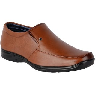 ShoeAdda Men's Tan Slip on Moccasin Formal Shoes