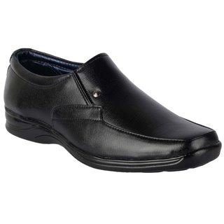 ShoeAdda Mens Black Slip on Moccasin Formal Shoes