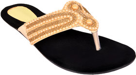 Altek Womens Gold Velvet Flats (foot13237gold125)