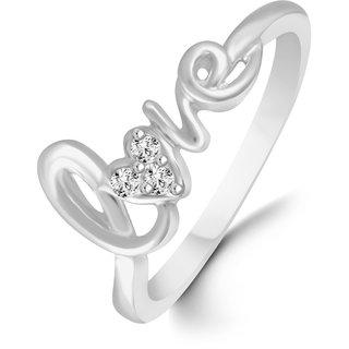 Sukai Jewels Love Heart Diamond Studded Rhoium Plated Alloy & Brass Cz American Diamond Finger Ring for Women & Girls [CJFR1319G]