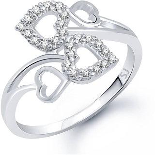 Sukai Jewels Charm Bonded Heart Rhodium Plated Alloy Brass Cubic Zirconia
