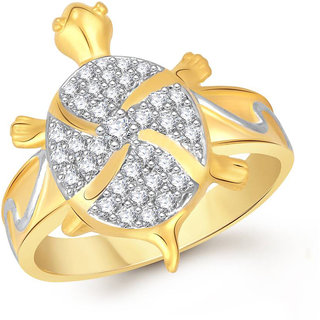 Sukai Jewels Money Tortoise Gold Plated Alloy & Brass Cubic Zirconia Finger Ring for Women & Girls [SFR789G]