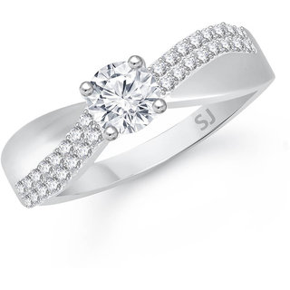 Sukai Jewels Cluster Center Single Solitaire Rhodium Plated Alloy & Brass Cubic Zirconia Finger Ring for Women & Girls [SFR398R]