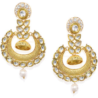 7e9b8d315d6d0 Zaveri Pearls Gold Plated Kundan Pearl Dangle Earring For Women-ZPFK7714