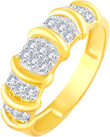 Sukai Jewels Royal Look Gold Plated Alloy & Barss Cubic Zirconia Finger Ring for Women & Girls [SFR469G]