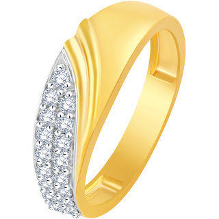Sukai Jewels Stylish Band Pattern Gold Plated Alloy  Barss Cubic Zirconia Finger Ring for Women  Girls SFR444G