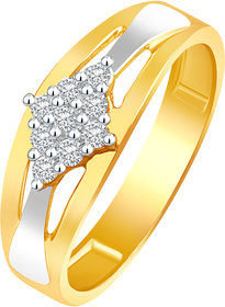 Sukai Jewels Square Pattern Solitaire Gold Plated Alloy & Barss Cubic Zirconia Finger Ring for Women & Girls [SFR475G]